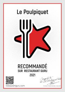 Certificat d'excellence par le Restaurant Guru (2021)